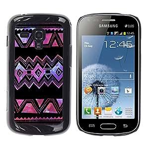TopCaseStore / la caja del caucho duro de la cubierta de protección de la piel - Purple Black Art Hand Made - Samsung Galaxy S Duos S7562