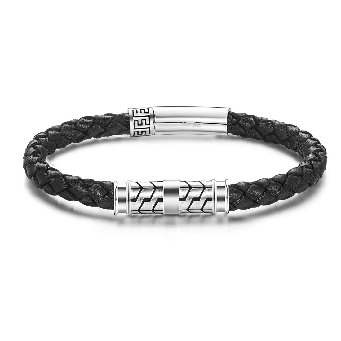 Carleen Destination 925 Sterling Silver Genuine Mens Leather Bracelet Braided Rope Energy Charm Magnetic Clasp, 8.3'' Black