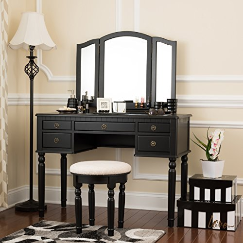 Fineboard Dressing Set with Stool Beauty Station Makeup Table Three Mirror Vanity Set, 5 Organization Drawers, Black (Table For Vanity Stool)