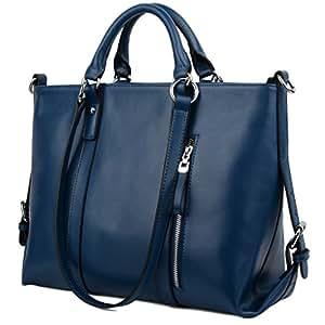 Yaluxe Mujer Cuero Genuino Laptop Trabajo Bolso de Mano 3-Forma de Compra Bolso de Hombro Azul