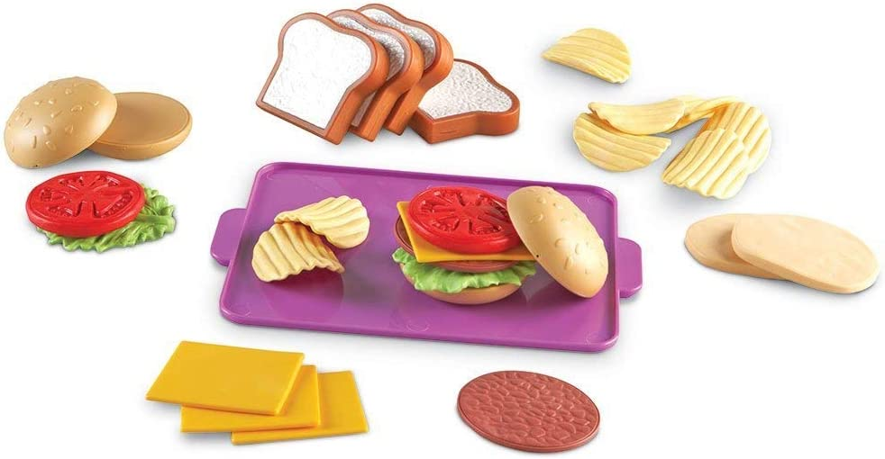Learning Resources New Sprouts Super Sandwich Set, Pretend Play, Play Food Set, Toddler Outdoor Toys, Pretend Picnic, 29 Pieces, Ages 18 mos+