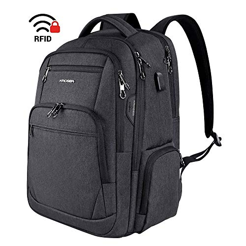 KROSER School Laptop Backpack 15.6-17.3 Inch Large Travel Computer Backpack Water-Repellent Daypack with USB Charging Port & Headphone Interface RFID Pockets for Work/Business/College/Men/Women