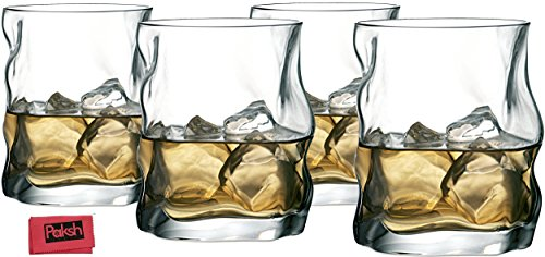 Paksh Novelty Italian Old Fashioned Whiskey Glass, 14 Oz., Set of 4