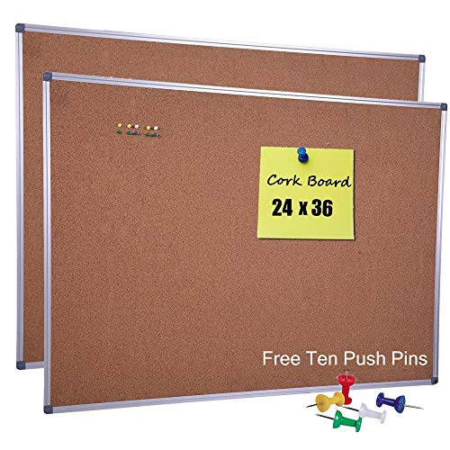 (36 x 24 Inch Cork Notice Board Bulletin Message Memo Pin Board with Aluminum Frame for Home Office Classroom School (2-Pack))