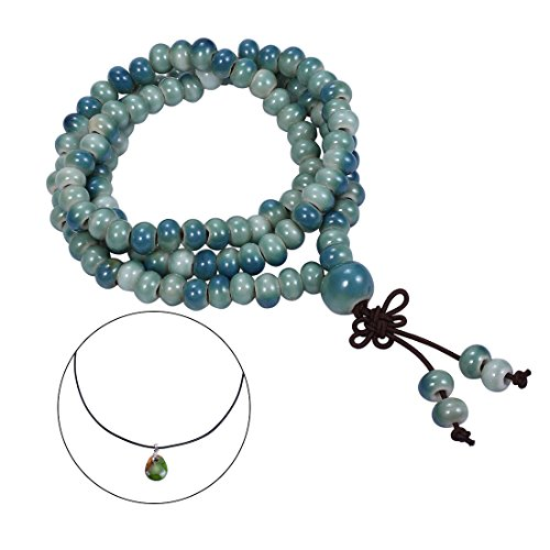CAT EYE JEWELS 108 Buddhist Prayer Beads Porcelain Meditation Mala Beads Bracelet Necklace Ocean Green Blue ()