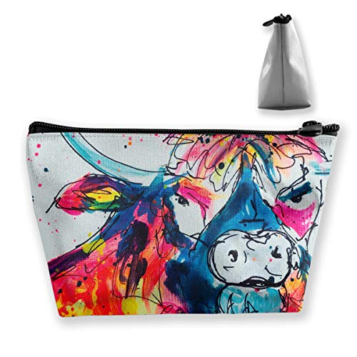 The Colourful Highland Cow Makeup Bag Case, Women's Multifunction Portable Travel Bags Small Makeup Clutch Pouch