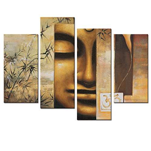 Large Size Buddha Wall Art Decor Canvas Prints,Peaceful Buddha Canvas Wall Art ,4panels,Framed and Stretched,Classical Buddha Canvas Prints,Home Decor