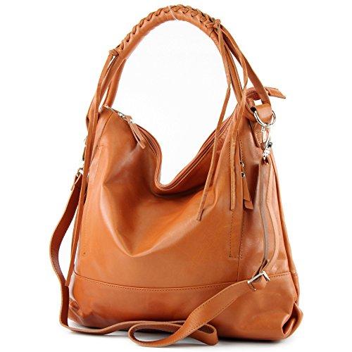 Sac à main pour femme, cuir italien véritable, W35 Camel