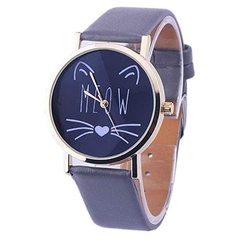 Scpink Las Mujeres del Gato Lindo patrón de liquidación señoras analógicas Relojes de Pulsera Relojes de niña de Cuero Relojes Femeninos (Negro): Amazon.es: ...