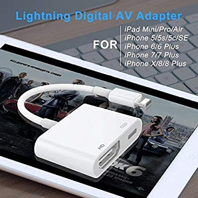 Apple MFi certificado) adaptador Lightning a HDMI, 1080P Digital ...
