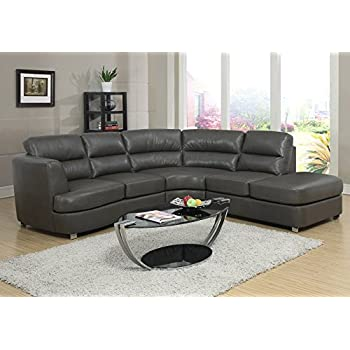 Amazon Com Monarch Bonded Leather Match Sectional Sofa