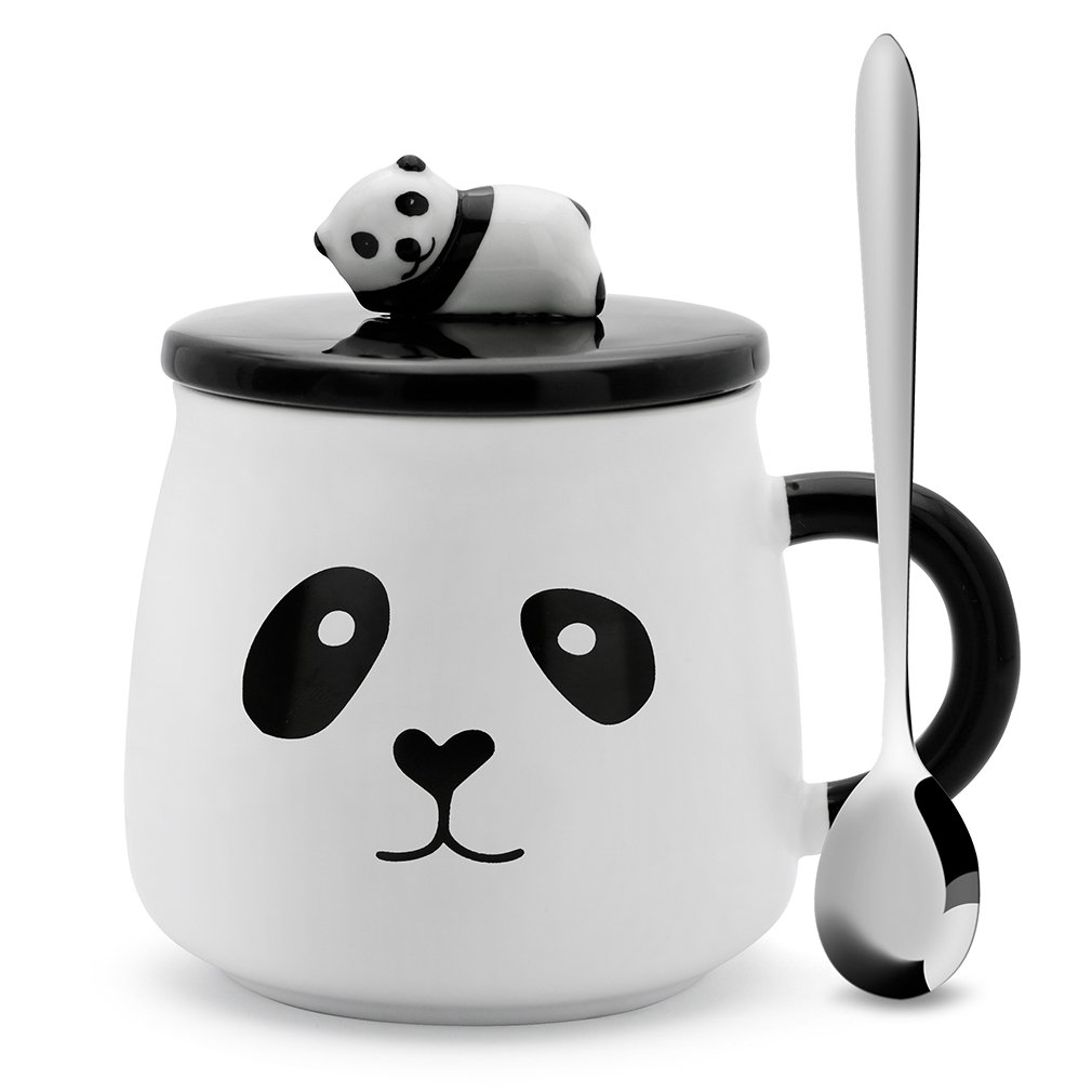 Teagas Cute Black & White 3D Ceramic Panda Coffee Mug with Stainless Steel Spoon, Perfect Gift for Friend Teacher Wife