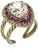 Sorrelli Women's Radiant Sunrise Adornado anillo de lágrima, rosa, ajustable