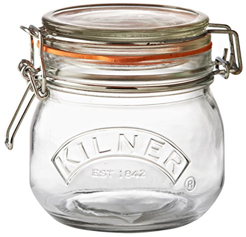 Kilner Round Clip Top Jar, Durable Glass Container with Airtight Seal for Home-canning, Storing and Preserving Food, 17-Fluid -