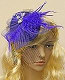 Bleu Royal/voile bibi avec plume-Pilulier-plat effet direct sur les courses de cristaux
