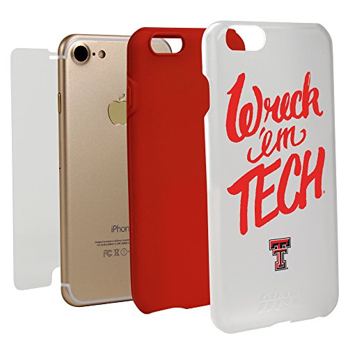 Bumper Raiders Texas Red Tech - Texas Tech Red Raiders - Wreck 'em Tech Hybrid Case for iPhone 7 with Guard Glass Screen Protector