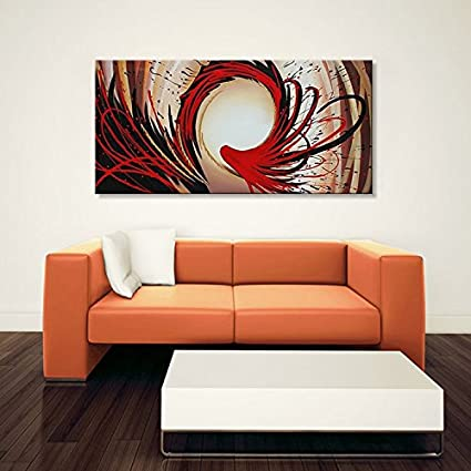 Amazon.com: Large Handmade Red Abstract Wall Art Modern Oil Painting ...