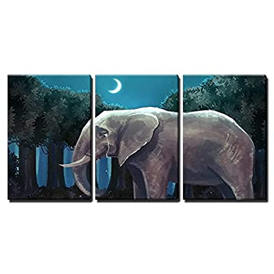 Quality Artwork, Beautiful Artisanship, Illustration of White Rabbit Bunny Talking with a Sad Elephant in The Forest Night Scene x3 Panels