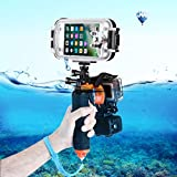 3 in 1 Pistol Trigger Set (Shutter Trigger + Phone Clamp + Floating Hand Grip Diving Buoyancy Stick) with Adjustable Anti-lost Strap & Screw & Tripod Adapter for iPhone, Galaxy, Sony, and other Smartp