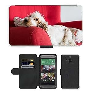 Super Stella Cell Phone Card Slot PU Leather Wallet Case // M00107799 Cocker Spaniel Dog Cocker Spaniel // HTC One M8