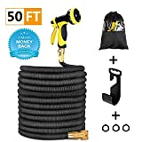 Garden Hose 50 ft Expanding Car Wash Hose Stretch Hosepipe, Latex Core Expanding with Solid Brass Connectors, 9 Functions Spray Nozzle for Home, Garden, Shower Pets or Wash Car with One Hanger