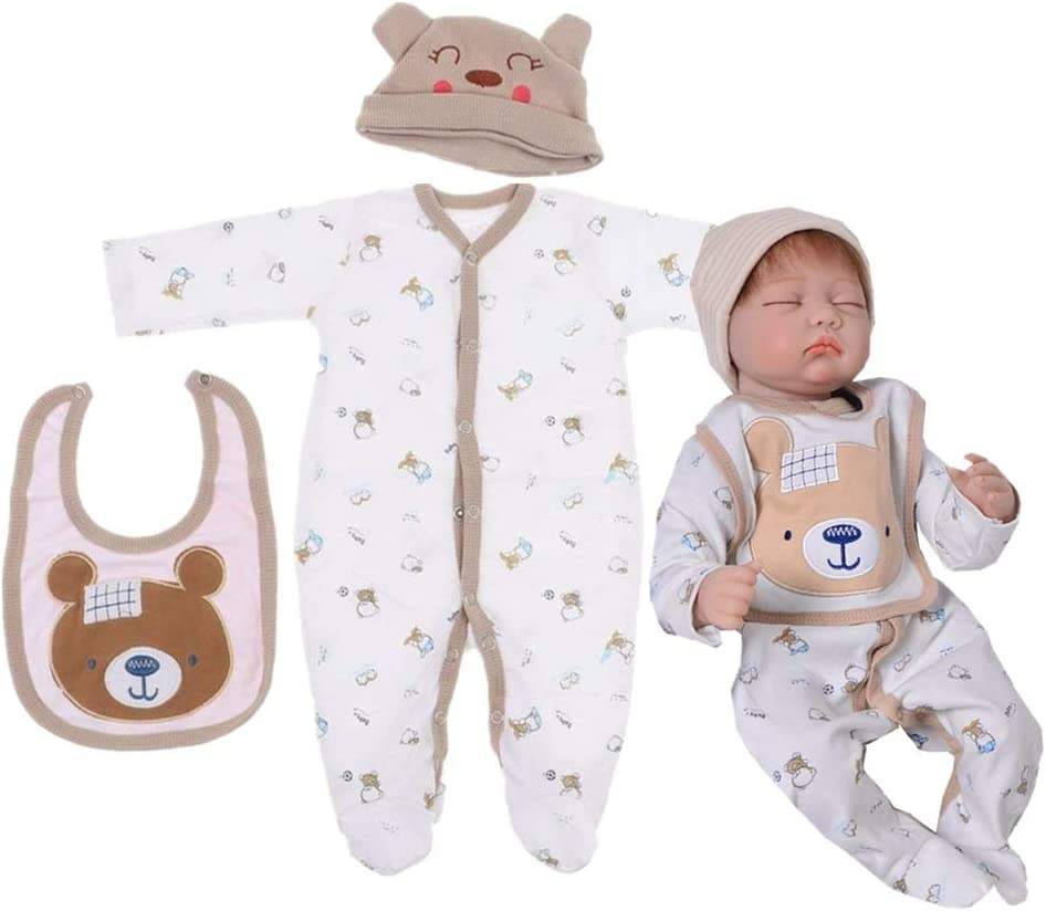 Pedolltree Reborn Dolls Clothes Boys 22 inch for 20-22 Reborn Baby Boy Doll Clothes 3 Pcs Set Bear Bib Outfit Accessories