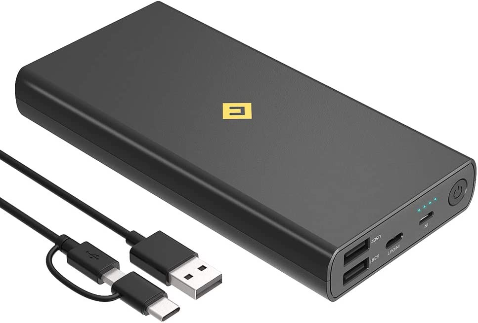 Portable Charger USB C 20000mAh Power Bank, 4 USB Ports External Battery Pack Fast Phone Charging with Newest Intelligent Controlling IC, Cell Phone Charger Battery for iPhone,Samsung Android,Tablet