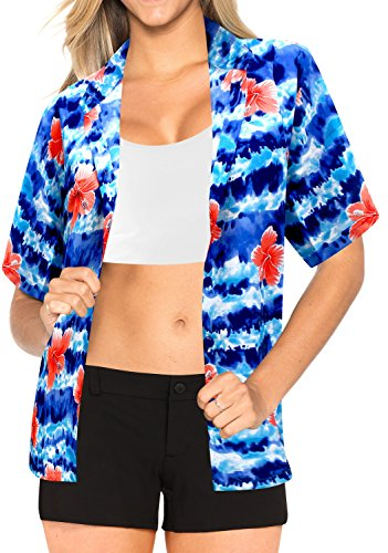 La Leela Likre Short Sleeve Button up Down Cruise Tropical Carribean Hibiscus Floral Flower R_Blue (Tropical Floral Silk Skirt)
