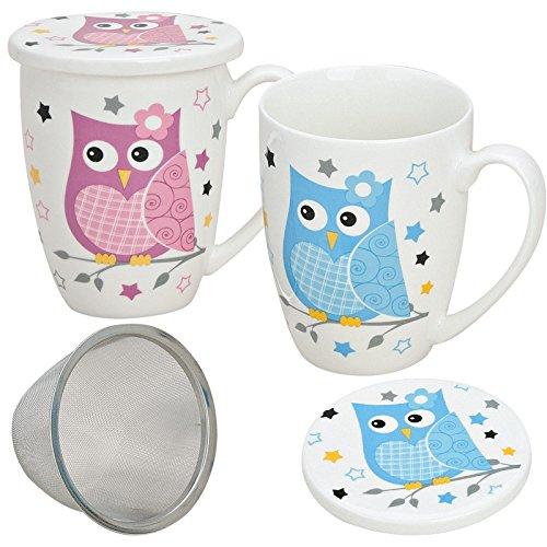 matches21 Teetassen Teebecher Eule mit Deckel /& Teesieb 2-tlg Set in pink /& blau aus Porzellan gefertigt 300 ml je 10 cm hoch