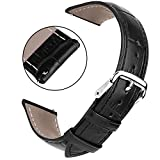 Vetoo 22mm Leather Watch Band, Genuine Cowhide with Crocodile Embossed Texture, Great Replacement Watch Strap for Men and Women, Silver Tone Buckle Closure (Black)