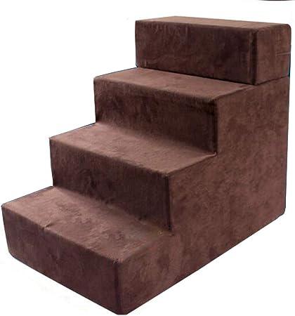 XUEYAN Escaleras para Perros, Escalera de 3/4 para Mascotas pequeñas y Medianas, Ideal para sofá y Cama Cojín para pies de Mascotas de Altura Ajustable (Color : Brown): Amazon.es: Hogar