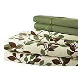 Spirit Linen Palazzo Home 104GSM 6-Piece Luxurious Printed Sheet Set, Queen, Green/Brown Leaves