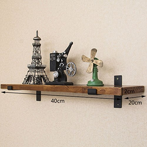 Wall-Mounted Separator Bookshelf Wrought Iron Wooden Industrial Wind Shelf Kitchen (Size : 40cm) by LTJTVFXQ-shelf (Image #4)