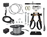 150 FT to 500 FT Ultimate Torpedo Zip Line Kit - 5/16'' Galvanized Aircraft Cable for 350 lb. Weight Limit
