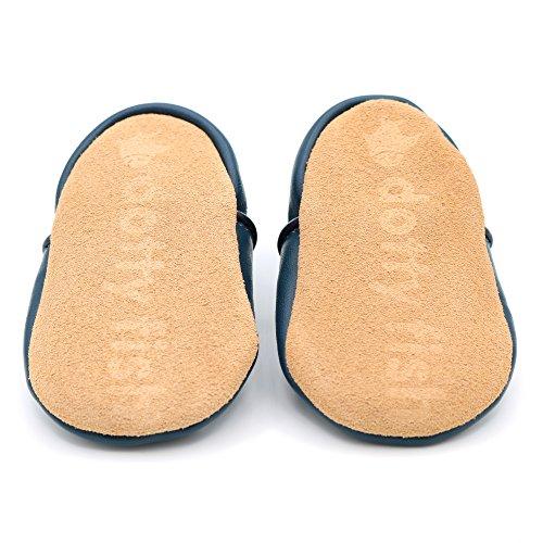 Dotty Fish weiche Leder Babyschuhe mit rutschfesten Wildledersohlen. Kleinkind Schuhe. Tier-, Transport- und Sternentwürfe für Jungen. Neugeborene bis 4-5 Jahre Marineblau Stern