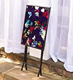 Portable Folding Tray Table - Textured Tempered Glass Top - Powder Coated Metal Frame - Compact Storage - Use Indoors or Outdoors on Covered Porch or Patio - 19.5 L x 14.5 W x 27 H - Butterfly