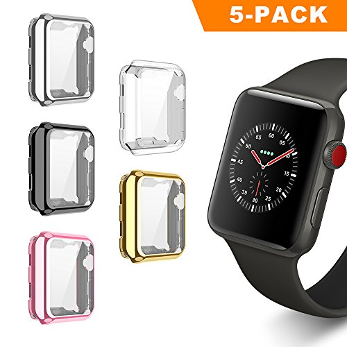 UBOLE Case for Apple Watch, UBOLE iWatch Screen Protector Soft Plated TPU All-around Ultra-thin Cover for Apple Watch Series 1, Series 2, Series 3, Nike+, Edition (5pack, 42mm)