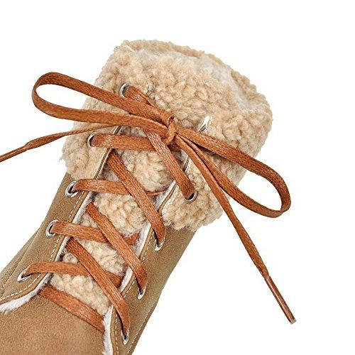 Pu Unie Ageemi Cuir Femme Demi Haut Couleur Shoes Lacet ppE0qwHz