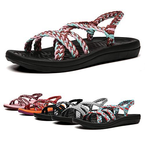 EAST LANDER Women's Comfortable Flat Walking Sandals with Arch Support Waterproof for Walking/Hiking/Travel/Wedding/Water Spot/Beach.18ZDKDEA01-W9-8 BD