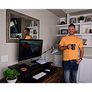 "Best Adjustable Standing Desk Riser - Gas Spring Converter to Stand Up or Sit Down, 32"" Black 2-Tier Desktop, Dual Computer Monitors Space w/ Keyboard Tray, Unlimited Ergonomic Height Positions"