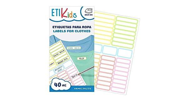 ETIKIDS 40 Etiquetas para ropa personalizables para la guardería y ...