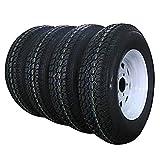 Set of 4 Trailer Tires & Rims 13'' White Spoke Trailer Wheel with bias ST175/80D13 Tire Mounted (5x4.5) bolt circle