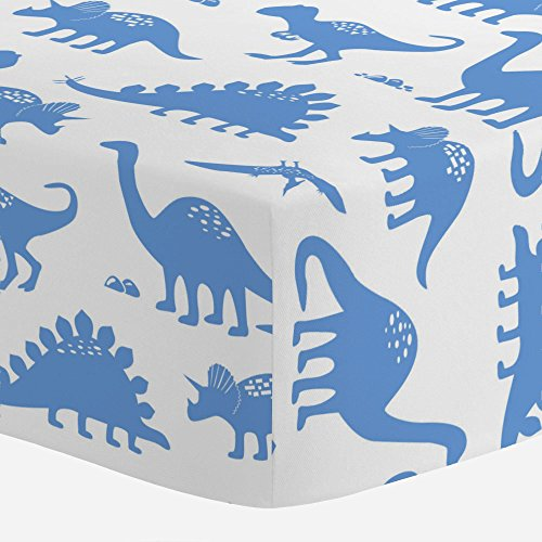 Crib Ice Bedding (Carousel Designs Ice Blue Dinosaurs Crib Sheet - Organic 100% Cotton Fitted Crib Sheet - Made in The USA)