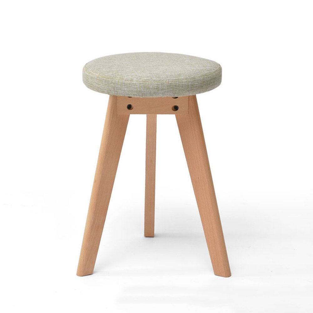 Stool - solid wood stool/fashion stool/fabric makeup stool/home table stool/Nordic small bench (two optional) 4540cm (Color : 2)