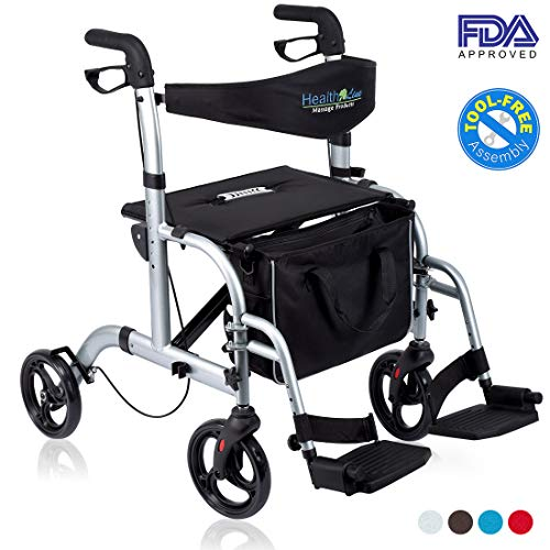 - Health Line 2 in 1 Rollator-Transport Chair w/Paded Seatrest, Reversible Backrest and Detachable Footrests, Silver White