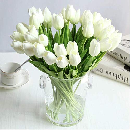 eads Artificial Flowers Real Touch Tulips in White Wedding Bouquets Flowers Fake Tulips PU Tulips Flowers Arrangement Bouquet Home Room Centrepiece Party Wedding Decor ()