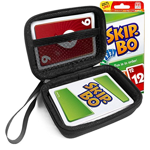 FitSand(TM) Carry Travel Zipper EVA Hard Case for SKIP BO Card Game - Black Box, Blacker Box, Best Protection for SKIP BO Cards