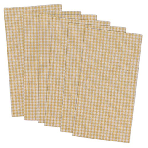 DII Yellow Check Cloth Napkin, Made Oversized for Place Settings, Family Dinners, BBQ, and Easter - 20x20