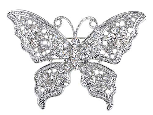 Alilang Silvery Tone Clear Crystal Rhinestone Filigree Butterfly Brooch Pin ()