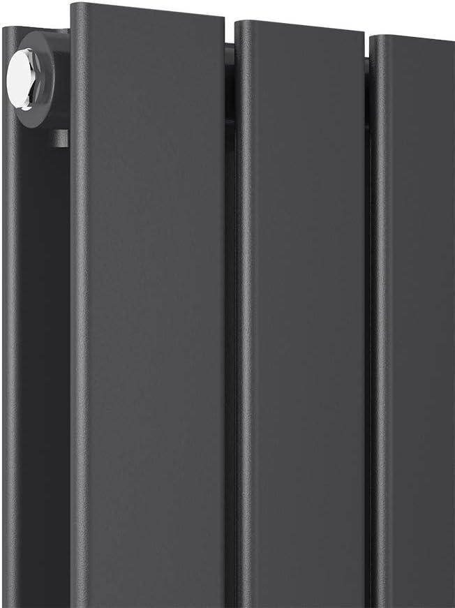 Antrazit Bath-mann Design Flach Heizk/örper 630 x 1000 mm Horizontale Panelheizk/örper Seitenanschluss Einreihig Heizung 762 Watt